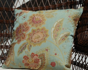 """Embroidered Jacobean Robin Egg Blue 16"""" Pillow Cover"""