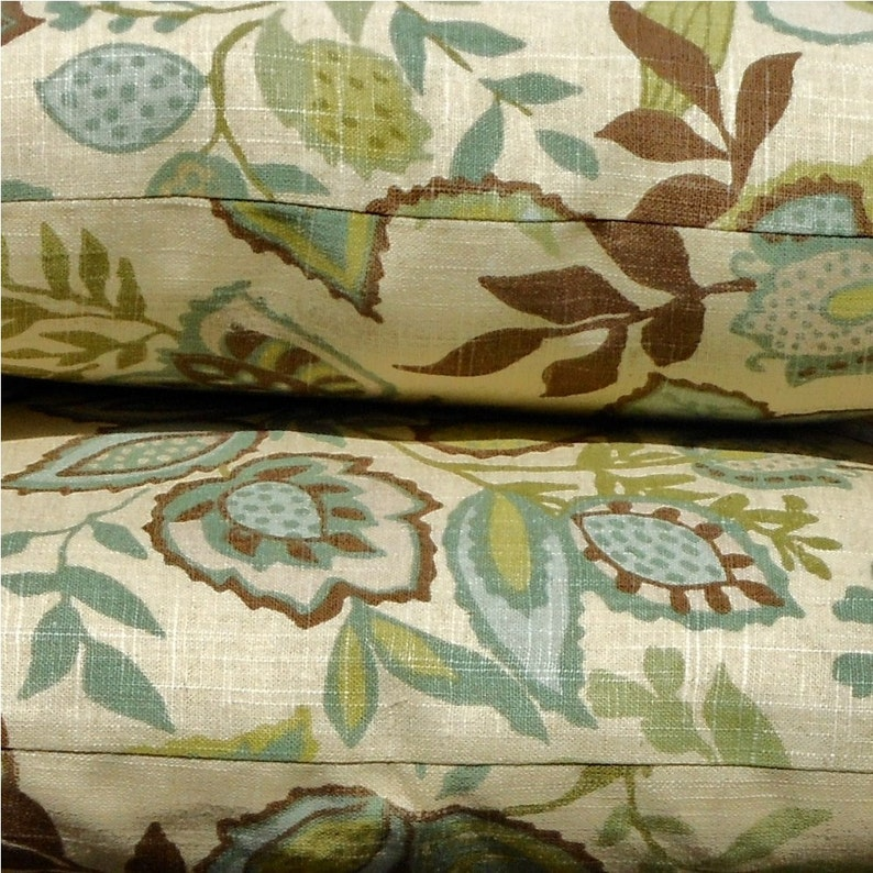 Mint and Brown Floral Pillow20 Pillow Spa Blue