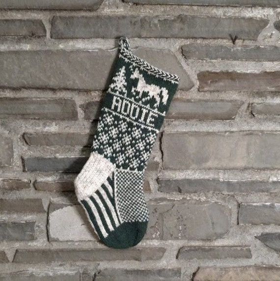 Knit With the Wind Santa/'s Sleigh fair isle vintage inspired hand knit Personalized Christmas Stocking
