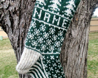 2018 Evergreen Stocking - hand knit, custom name available,  made to order