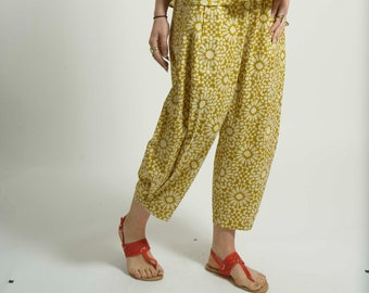 Casual Smart Ibiza Pants Beach Lounge trousers handmade In Cotton with Geometric  Block  Print YELLOW