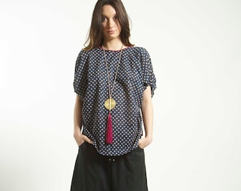 Frees size Poncho top blouse handmade in Cotton  and Block Print in Blue