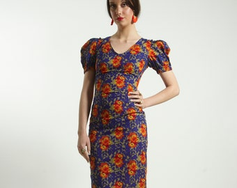 Fitted cotton dress with short sleeves in orange and blue  flower handmade  print pattern