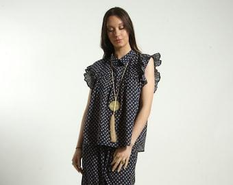 Free size Frills Top blouse handmade in cotton block print  geometric BLUE