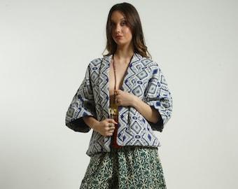 Frees size Kimono Jacket Blouse  style ethnic handmade  heavy cotton BLUE