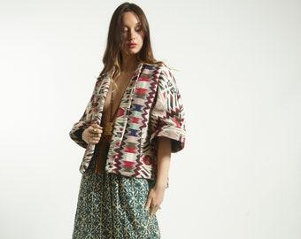 Frees size Kimono Jacket Blouse  style ethnic handmade  heavy cotton GREEN