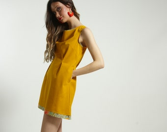 Mini short dress  with pocket and  print piping handmade in YELLOW  cotton