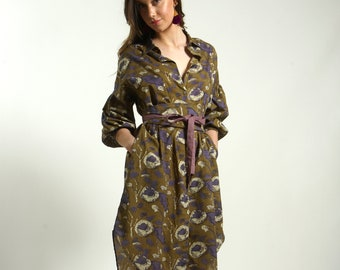 Oversize long shirt dress handmade in cotton block print GREEN PURPLE with pockets