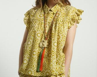 Free size Frills Top blouse handmade in cotton block print  geometric Yellow