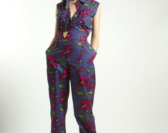 Jumpsuit  Romper Blue AFRO FLORAL Print  with pockets handmade in Pure Strong Cotton