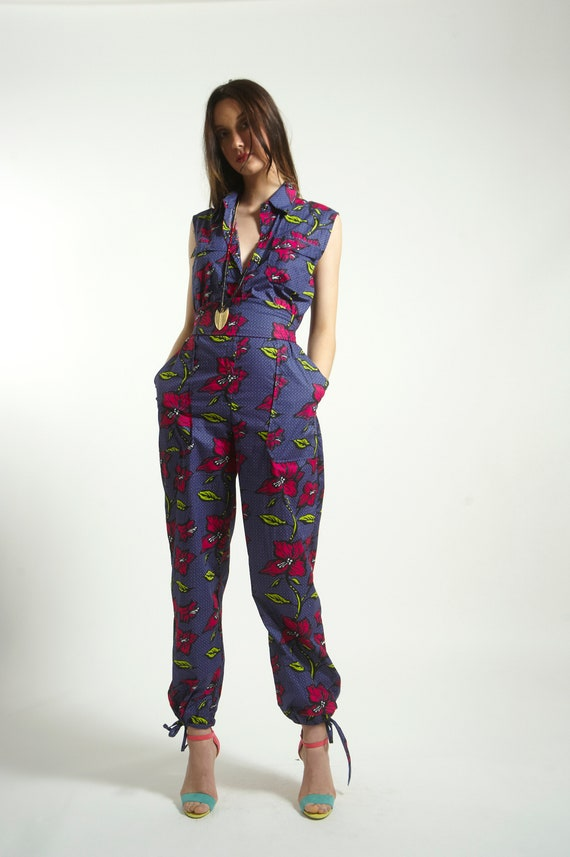with Romper in Print Jumpsuit Pure Cotton handmade Animal Blue pockets Strong ZgnwwOPIq