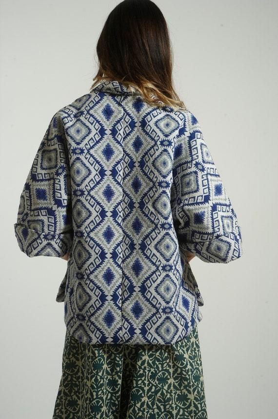 Blouse handmade Jacket ethnic Kimono size style BLUE cotton Frees heavy tvqY46wHHx