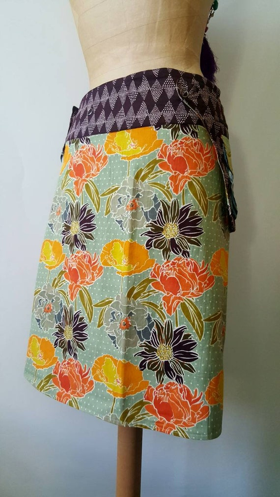 Length Size geometric Wrap flower Reversible Knee and Print Free patterns Cotton Skirt w6Xpxaggq