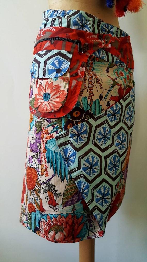 geometric Size Skirt Free patterns flower Length Reversible Cotton Knee Print and Wrap HxSSAznq