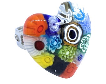 Adjustable Ring 2.5 x 1.5cm Murano Glass Jewellery from Venice Italy Millefiori Ring on Gold Leaf Handmade Glass Ring Murano Glass Ring
