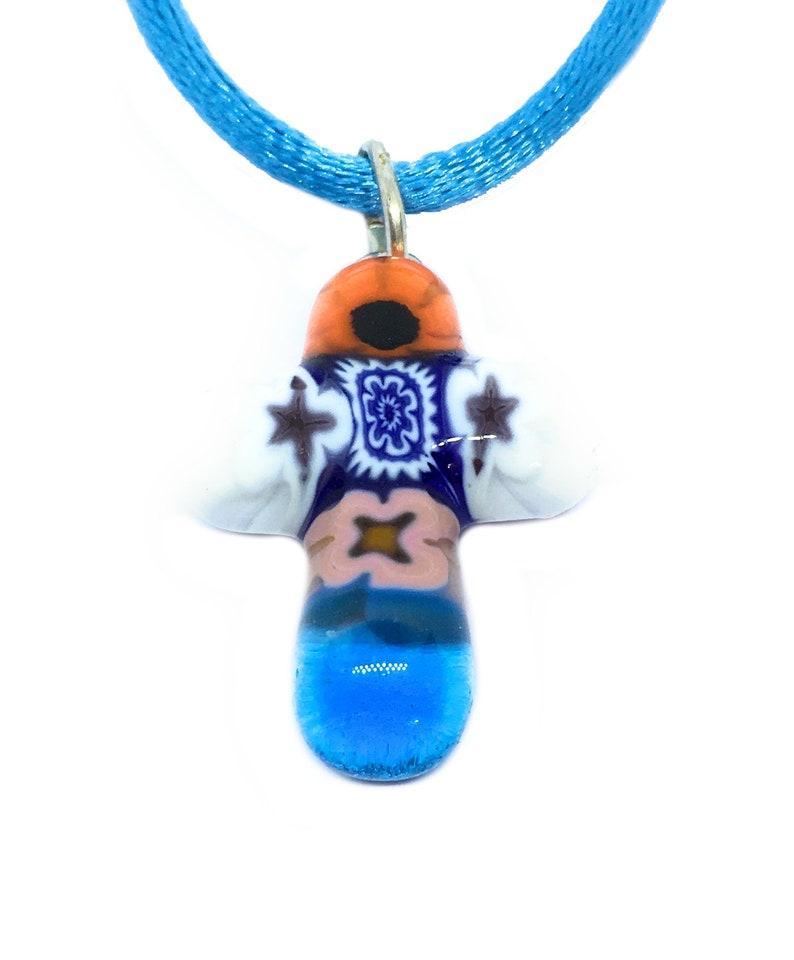 Genuine Murano Glass Necklace Millefiori Cross 2cm Venetian Glass Murano Glass Cross Pendant Murano Glass Jewellery from Venice Italy