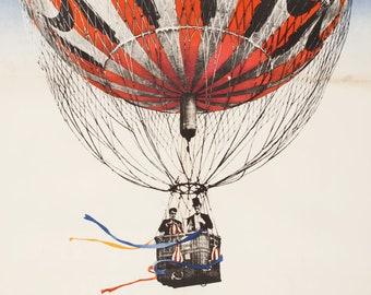 POSTER Around the World in 80 Days Jules Verne Original Large A1 Movie Poster Balloon Print Artwork Home Decor Cinema