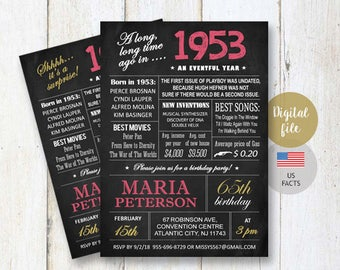 25th Birthday Invitations Chalkboard Surprise
