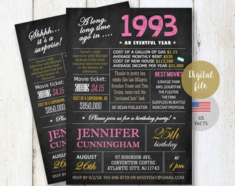 25th Birthday Invitations | Chalkboard Surprise 25th birthday invitation for her best sister best friend daughter - facts 1993 DIGITAL file