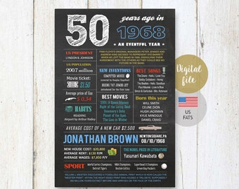 Personalized 50th birthday Chalkboard gift for men him man - Fun facts 1968 birthday sign gift for father in law, daddy dad - DIGITAL FILE!