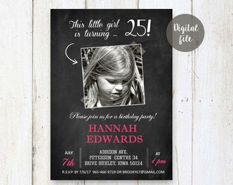 25th Birthday Invitations for her | Chalkboard Vintage Photo collage invitation for girl best sister friend daughter  | DIGITAL!