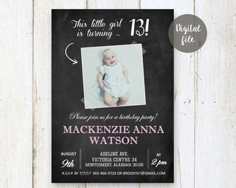 13th Birthday Invitations for girl | Pale pink Chalkboard Photo collage invite for girl best sister friend daughter in law her | DIGITAL!