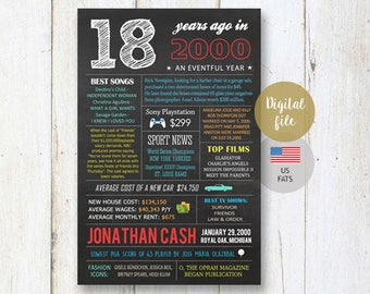 18th birthday gift idea for best brother son boy him men - Personalized 18th birthday gift sign - US Fun facts 2000 poster - DIGITAL file!
