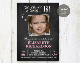 18th Birthday Invitations for girl | Pale pink Chalkboard Photo collage invite for girl best sister friend daughter in law her | DIGITAL!