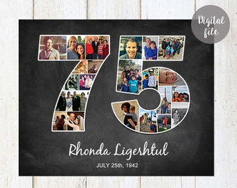 Photo Collage 75th birthday gift - 1943 Personalized Birthday Gifts For Grandparents Parents - Photo Collage chalkboard sign - DIGITAL FILE!