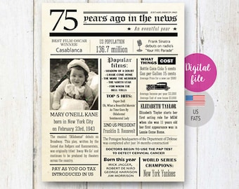 Personalized 75th Birthday Gift for him man great grandpa dad father in law - Fun facts 1943 - 75th birthday photo collage - DIGITAL FILE!