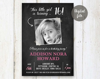 16th Birthday Invitations for girl | Pale pink Chalkboard Photo collage invite for girl best sister friend daughter in law her | DIGITAL!