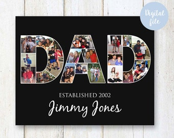 Birthday Gifts for DAD - Photo Collage poster for him father husband - DIGITAL FILE!