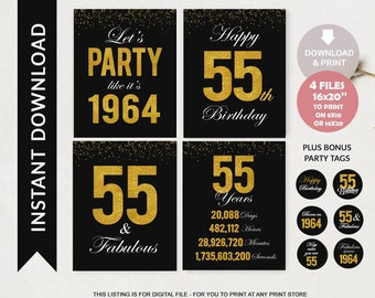 55th Birthday Printable Signs