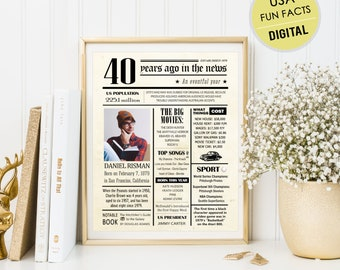 Personalized 40th Birthday Poster For Him Men Husband Son Best Brother Friend Uncle Boyfriend