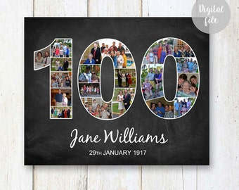 Photo Collage 100th Birthday Gift