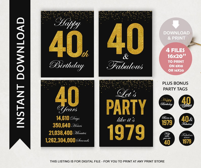 photo relating to Printable Birthday Signs named Printable 40th Birthday Symptoms - Black and Gold Sparkle Welcome 40 Birthday Celebration Decor for Guys or Gals - Back again in just 1979 - Quick Down load