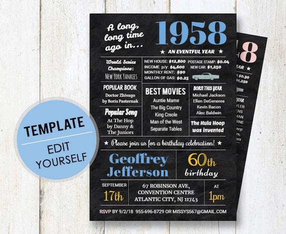 60th birthday invitation template for men chalkboard etsy