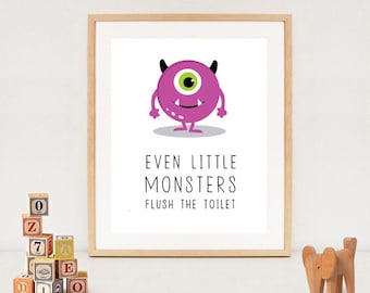 Kids bathroom rules sign - Even little monsters flush the toilet printable- INSTANT DOWNLOAD
