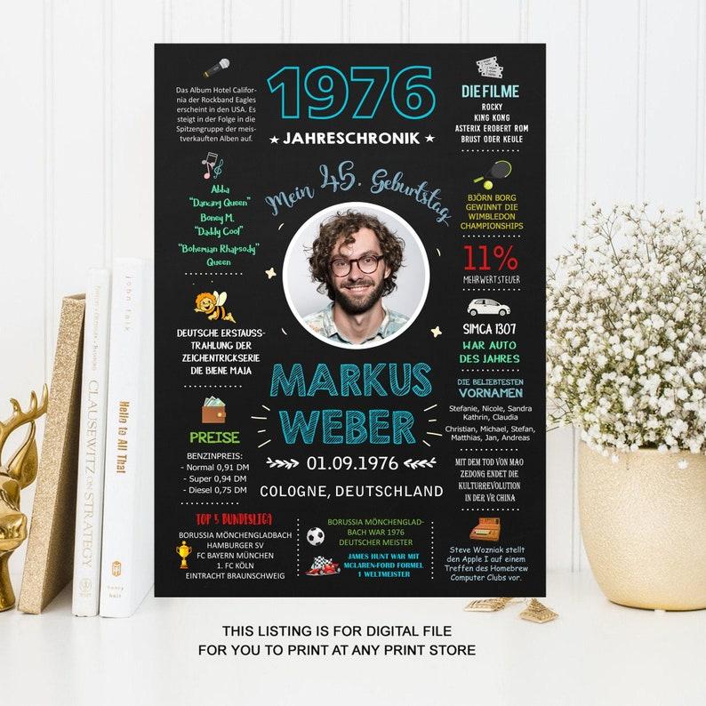Geschenk zum Geburtstag /& Jubil\u00e4um JahresChronik 1976-45 Geburtstag Poster
