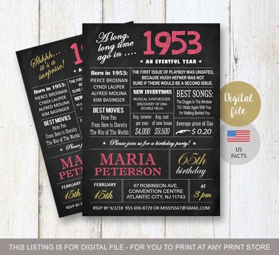 65th birthday invitations chalkboard invitation for women etsy