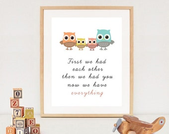 First we had each other print - Owl nursery wall art - INSTANT DOWNLOAD