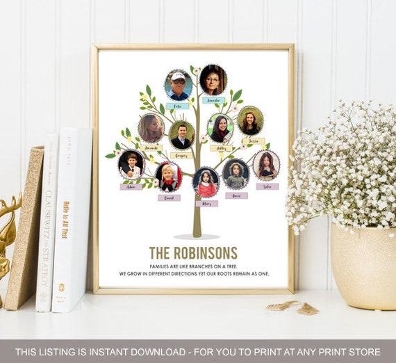 Family Tree Chart Ideas With Personal Photos Anniversary Etsy
