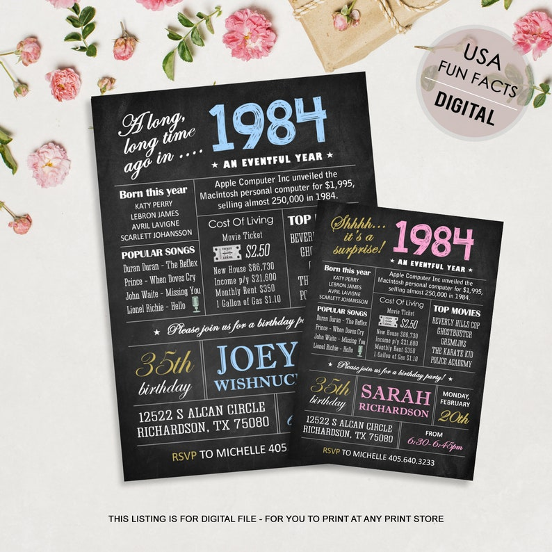 35th Birthday Invitation For Men Women Chalkboard