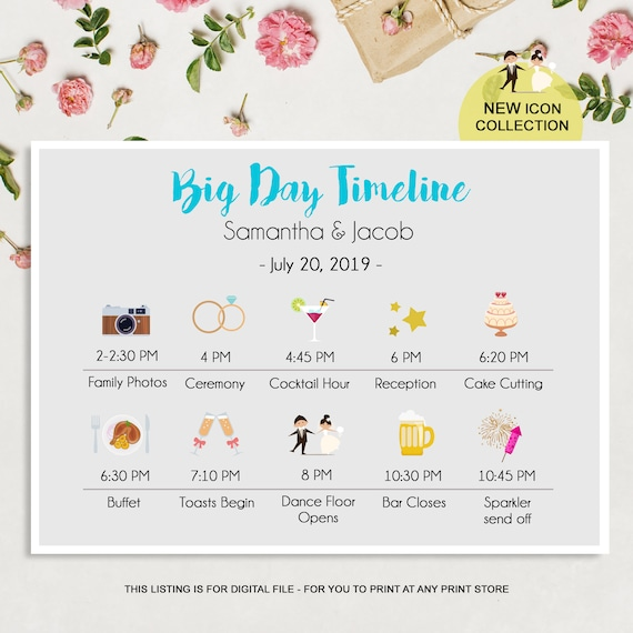 Wedding Day Timeline Program Printable Wedding Timeline Cards Custom Wedding Day Schedule Itinerary And Weekend Timeline Digital File