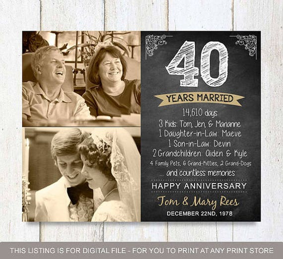 40th Wedding Anniversary Gifts For Wife: 40th Anniversary Gift For Parents Wife Husband Or Best