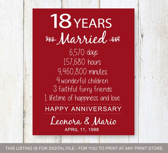 18th Wedding Anniversary Gift Ideas Him Images - Wedding Decoration ...
