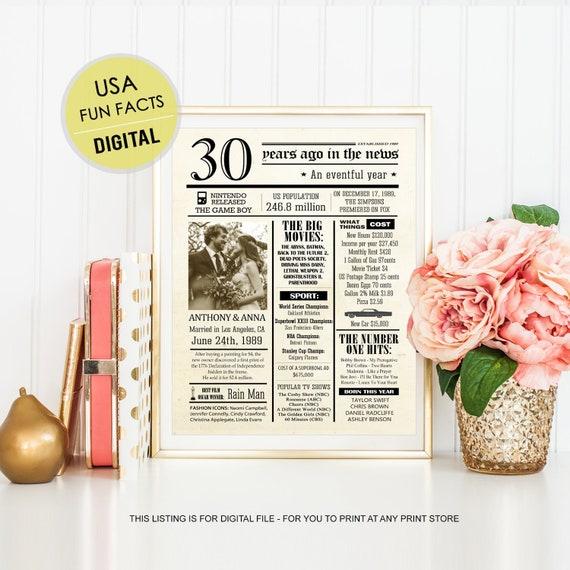 Personaliseren 30e Verjaardag Cadeau Voor Ouders Haar Vrouwen Vrouw Hem Echtgenoot Mannen Vader Moeder Ouders Leuke Feitjes Getrouwd 1989 Digitaal