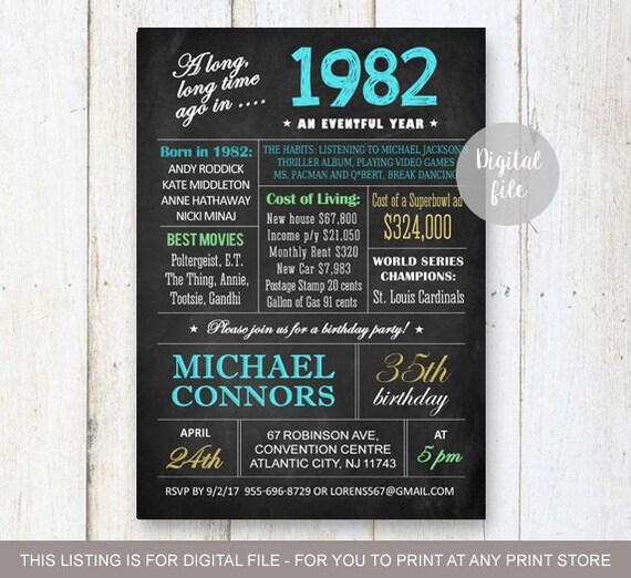 35th Birthday Invitation For Men Chalkboard