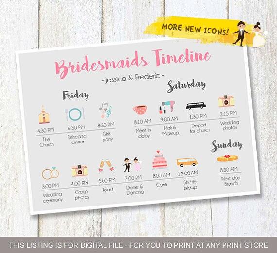 Wedding Timeline Custom Bridesmaids Timeline Program Etsy