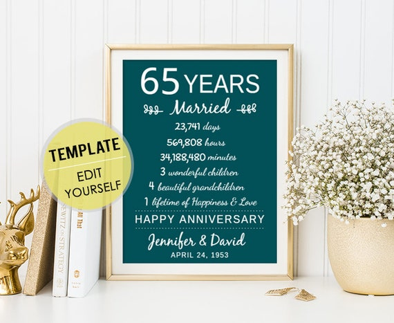 35th Wedding Anniversary Gifts For Wife: 65th Wedding Anniversary Gift For Parents 65 Years Wedding
